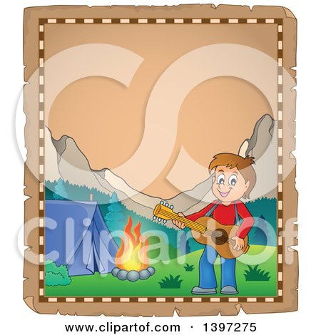 Clipart of a Parchment Page of a Brunette Caucasian Boy Playing a Guitar by a Camp Fire - Royalty Free Vector Illustration by visekart