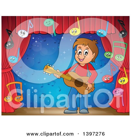 Clipart of a Brunette Caucasian Boy Playing a Guitar, with Music Notes, on a Stage - Royalty Free Vector Illustration by visekart