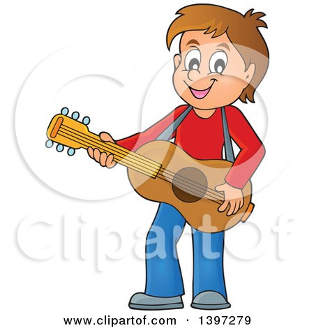 Clipart of a Brunette Caucasian Boy Playing a Guitar - Royalty Free Vector Illustration by visekart