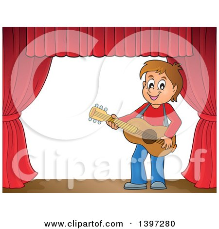 Clipart of a Brunette Caucasian Boy Playing a Guitar on a Stage - Royalty Free Vector Illustration by visekart