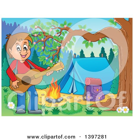 Clipart of a Brunette Caucasian Boy Playing a Guitar by a Camp Fire - Royalty Free Vector Illustration by visekart
