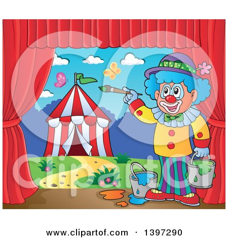 Clipart of a Happy Clown Painting a Circus Stage Backdrop - Royalty Free Vector Illustration by visekart