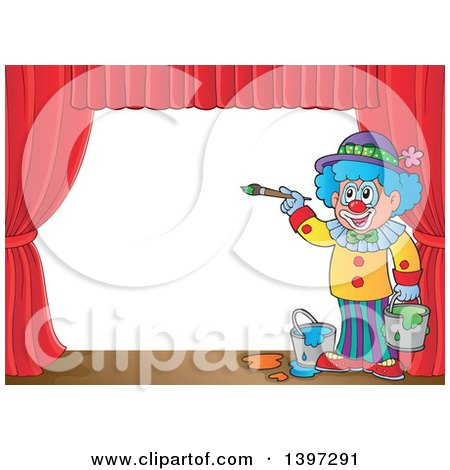 Clipart of a Happy Clown Painting a Stage Backdrop - Royalty Free Vector Illustration by visekart
