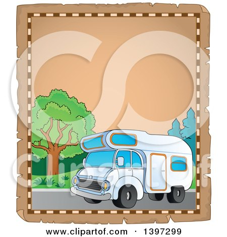 Clipart of a Parchment Border of a Camper Van - Royalty Free Vector Illustration by visekart