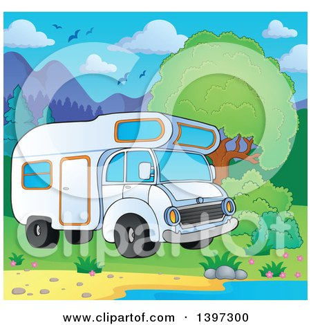 Clipart of a Camper Van Parked at a Lake Shore - Royalty Free Vector Illustration by visekart