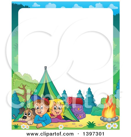 Clipart of a Border of a Dog, Boy and Girl Resting in Their Tent by a Camp Fire - Royalty Free Vector Illustration by visekart