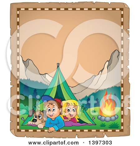 Clipart of a Parchment Border of a Dog, Boy and Girl Resting in Their Tent by a Camp Fire - Royalty Free Vector Illustration by visekart
