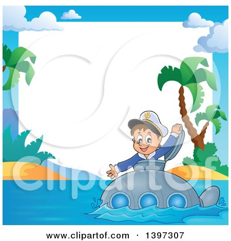 Clipart of a Border of a Happy Brunette Caucasian Sailor Boy Looking out of a Submarine Hatch, near a Tropical Island - Royalty Free Vector Illustration by visekart