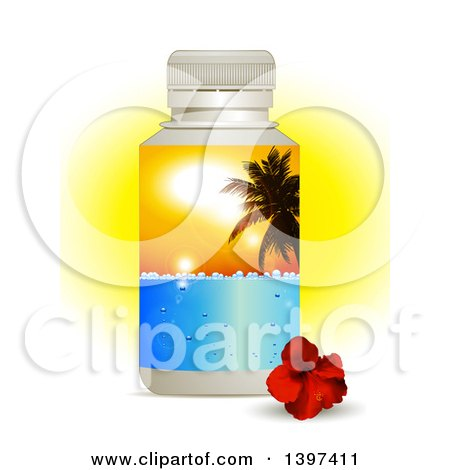 Clipart of a 3d Plastic Water Bottle with a Tropical Palm Tree Sunset Label and a Hibiscus Flower, over Sunshine on White - Royalty Free Vector Illustration by elaineitalia