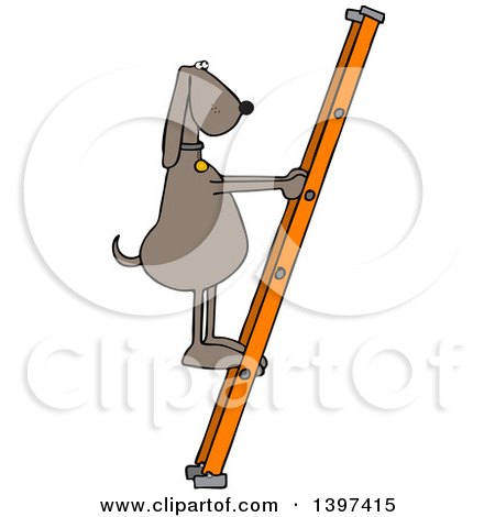 Clipart of a Cartoon Brown Dog Climbing a Ladder - Royalty Free Vector Illustration by djart