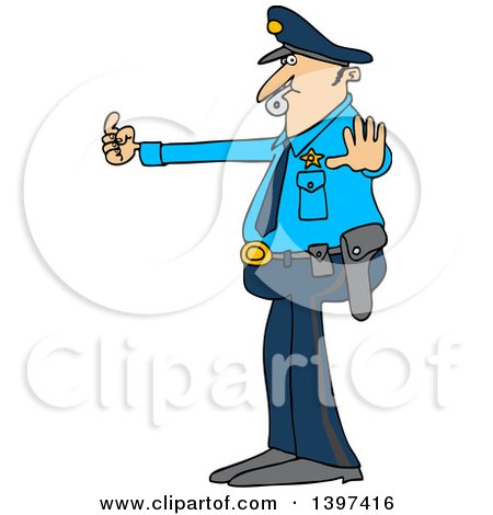 Clipart of a Cartoon Caucasian Male Police Officer Blowing a Whistle and Directing Traffic - Royalty Free Vector Illustration by djart