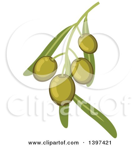 Clipart of a Branch of Green Olives and Leaves - Royalty Free Vector Illustration by Vector Tradition SM