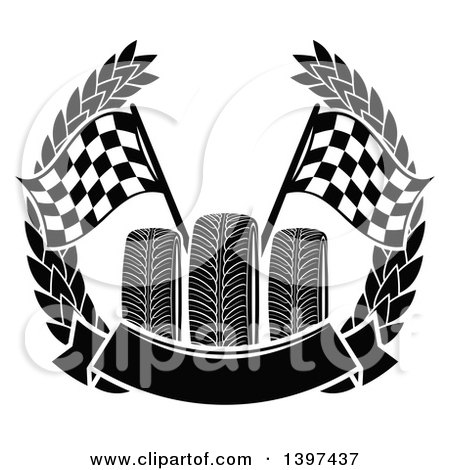 Clipart of Tires with Checkered Race Flags in a Wreath with a Blank Banner - Royalty Free Vector Illustration by Vector Tradition SM