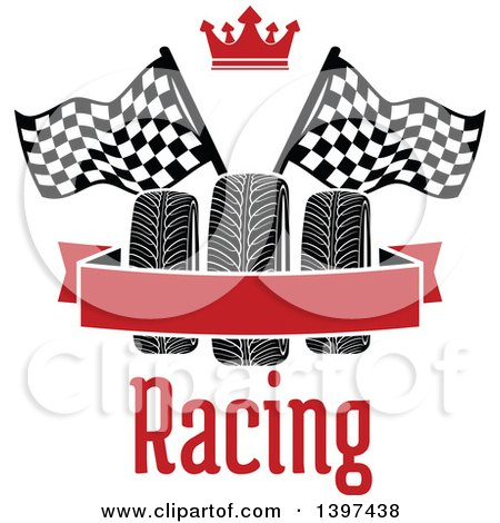 Clipart of Tires with Checkered Race Flags, a Crown, Text, and Blank Banner - Royalty Free Vector Illustration by Vector Tradition SM