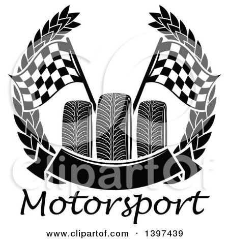 Clipart of Tires with Checkered Race Flags in a Wreath with a Blank Banner over Text - Royalty Free Vector Illustration by Vector Tradition SM