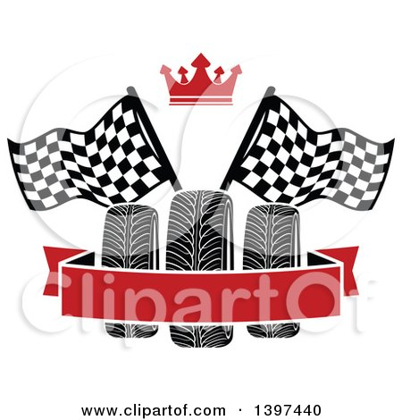 Clipart of Tires with Checkered Race Flags, a Crown, and Blank Banner - Royalty Free Vector Illustration by Vector Tradition SM