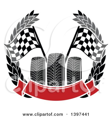 Clipart of Tires with Checkered Race Flags in a Wreath with a Blank Red Banner - Royalty Free Vector Illustration by Vector Tradition SM
