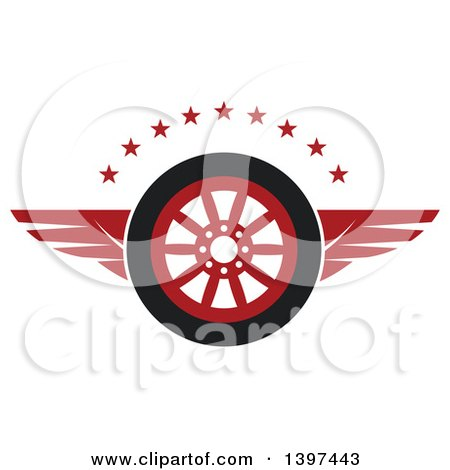Clipart of a Flying Tire with Red Wings and Stars - Royalty Free Vector Illustration by Vector Tradition SM