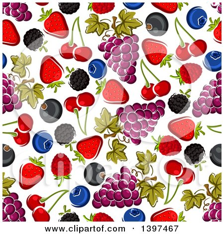 Clipart of a Seamless Background Pattern of Fruit - Royalty Free Vector Illustration by Vector Tradition SM