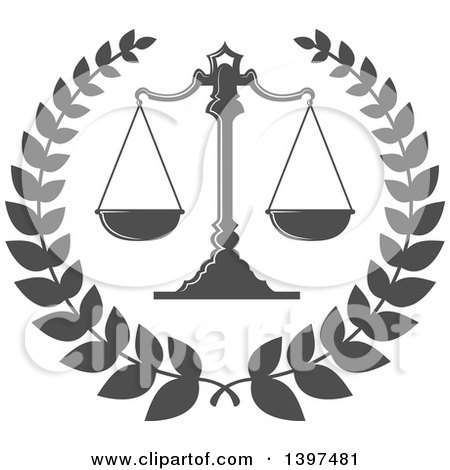 Clipart of Dark Gray Scales of Justice 3 - Royalty Free Vector ...
