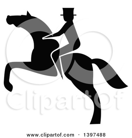 Clipart of a Black Silhouetted Rider on a Rearing Horse - Royalty Free Vector Illustration by Vector Tradition SM