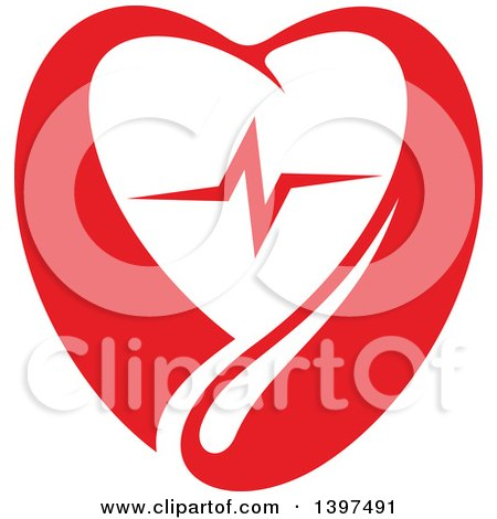 Clipart of a Red Blood Drop Heart with a Beat - Royalty Free Vector Illustration by Vector Tradition SM