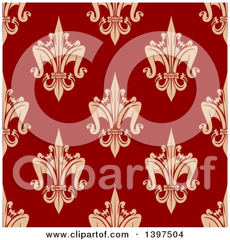 Clipart of a Seamless Background Pattern of Fleur De Lis - Royalty Free Vector Illustration by Vector Tradition SM