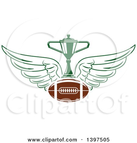 Clipart of an American Football with Wings and a Trophy - Royalty Free Vector Illustration by Vector Tradition SM