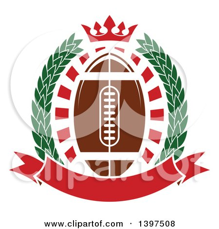 Clipart of an American Football in a Wreath with a Crown and Banner - Royalty Free Vector Illustration by Vector Tradition SM