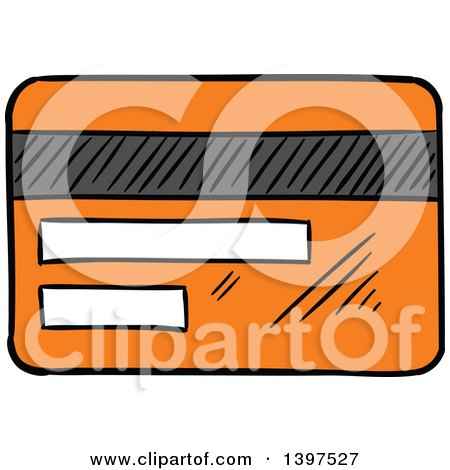 Clipart of a Sketched Orange Credit Card - Royalty Free Vector Illustration by Vector Tradition SM