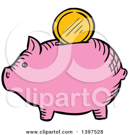 Clipart of a Sketched Piggy Bank with a Gold Coin - Royalty Free Vector Illustration by Vector Tradition SM