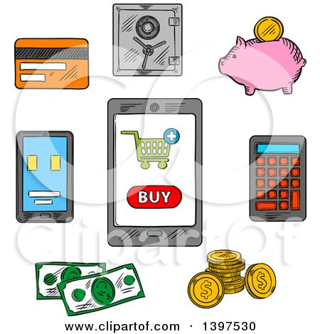 Clipart of Sketched Retail and Money Icons - Royalty Free Vector Illustration by Vector Tradition SM