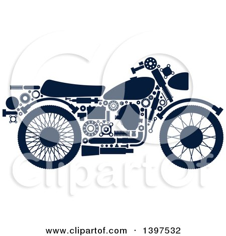 Clipart of a Motorcycle with Blue Silhouetted Visible Mechanical Parts - Royalty Free Vector Illustration by Vector Tradition SM