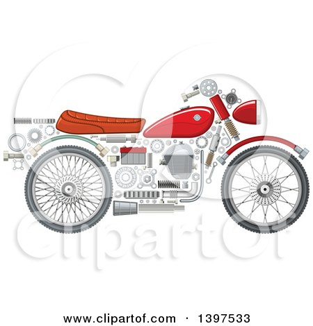 Clipart of a Motorcycle with Visible Mechanical Parts - Royalty Free Vector Illustration by Vector Tradition SM