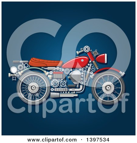 Clipart of a Motorcycle with Visible Mechanical Parts, on Blue - Royalty Free Vector Illustration by Vector Tradition SM