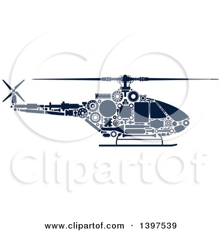 Clipart of a Helicopter with Visible Blue Silhouetted Mechanical Parts - Royalty Free Vector Illustration by Vector Tradition SM
