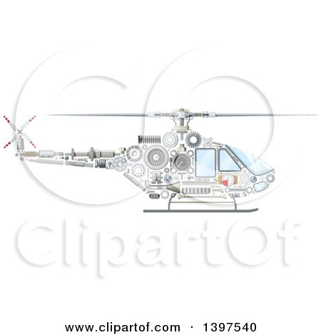 Clipart of a Helicopter with Visible Mechanical Parts - Royalty Free Vector Illustration by Vector Tradition SM