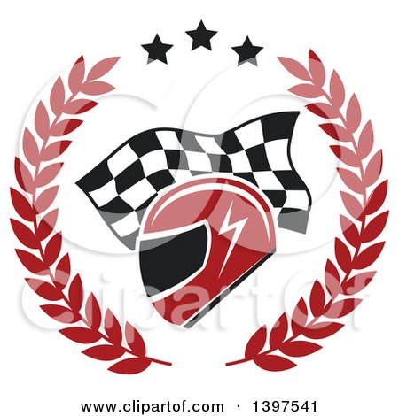 Clipart of a Racing Helmet over a Checkered Flag in a Wreath - Royalty Free Vector Illustration by Vector Tradition SM