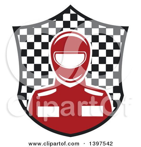 Clipart of a Race Car Driver in a Checkered Shield - Royalty Free Vector Illustration by Vector Tradition SM
