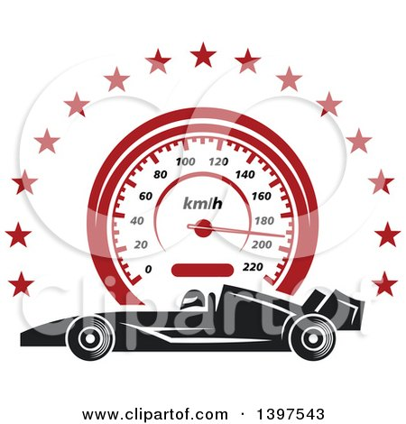 Clipart of a Profiled Race Carover a Speedometer in a Circle of Stars - Royalty Free Vector Illustration by Vector Tradition SM