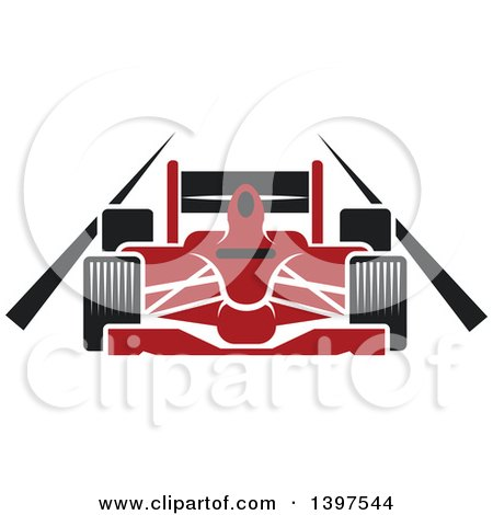 Clipart of a Red Race Car on a Track - Royalty Free Vector Illustration by Vector Tradition SM