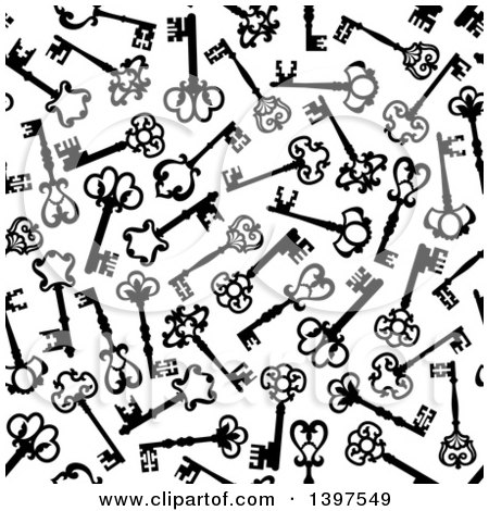 Clipart of a Seamless Background Pattern of Skeleton Keys - Royalty Free Vector Illustration by Vector Tradition SM