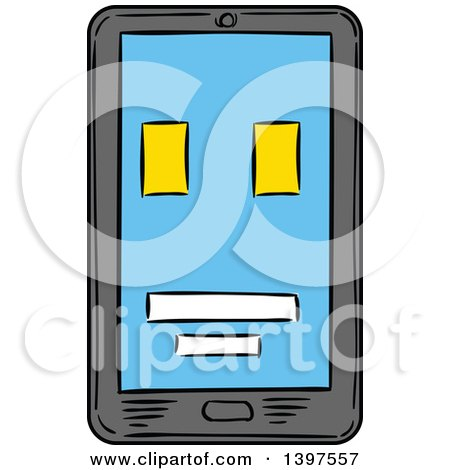Clipart of a Sketched Smart Phone - Royalty Free Vector Illustration by Vector Tradition SM