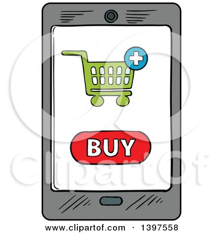 Clipart of a Sketched Smart Phone on a Purchase Screen - Royalty Free Vector Illustration by Vector Tradition SM