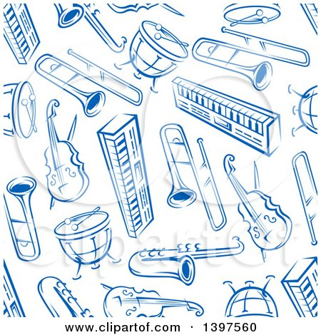 Clipart of a Seamless Background Pattern of Blue Instruments - Royalty Free Vector Illustration by Vector Tradition SM