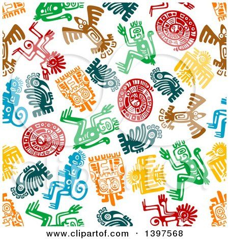 Clipart of a Seamless Background Pattern of Mayan Hieroglyphs - Royalty Free Vector Illustration by Vector Tradition SM