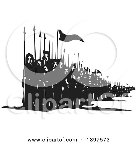 Clipart of a Black and White Woodcut Line of Marching People with Spears and Flags - Royalty Free Vector Illustration by xunantunich
