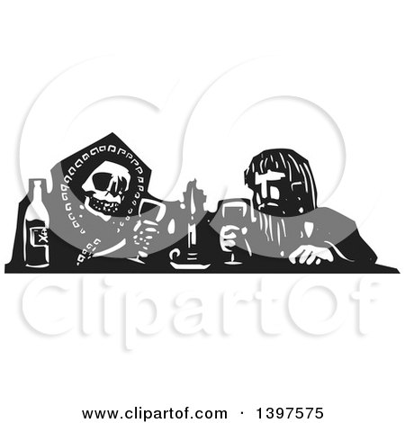 Clipart of a Black and White Woodcut Skeleton or Grim Reaper Drinking Poison with a Man - Royalty Free Vector Illustration by xunantunich