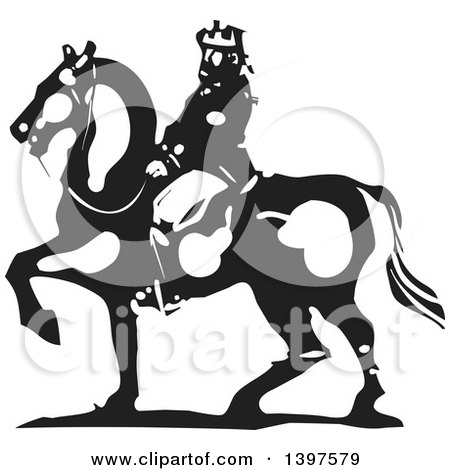 Clipart of a Black and White Woodcut Horseback King - Royalty Free Vector Illustration by xunantunich