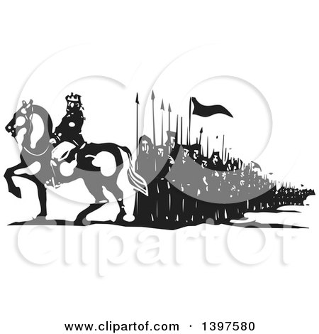 Clipart of a Black and White Woodcut Horseback King with Marching People - Royalty Free Vector Illustration by xunantunich